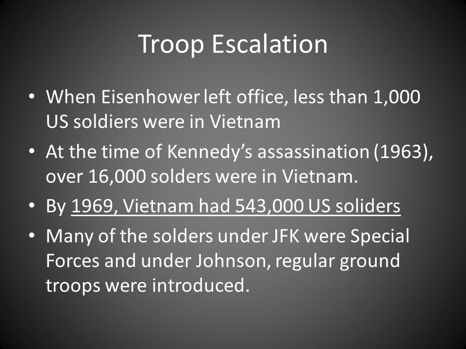 Troop Escalation When Eisenhower left office, less than 1,000 US soldiers were in Vietnam.