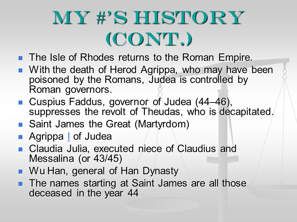 My #'s History (cont.) The Isle of Rhodes returns to the Roman Empire.