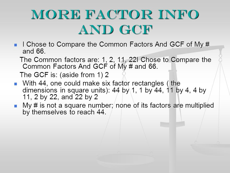 More Factor info and GCF