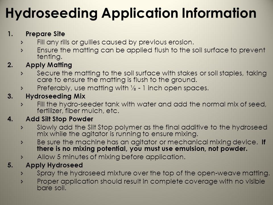 Hydroseeding Application Information