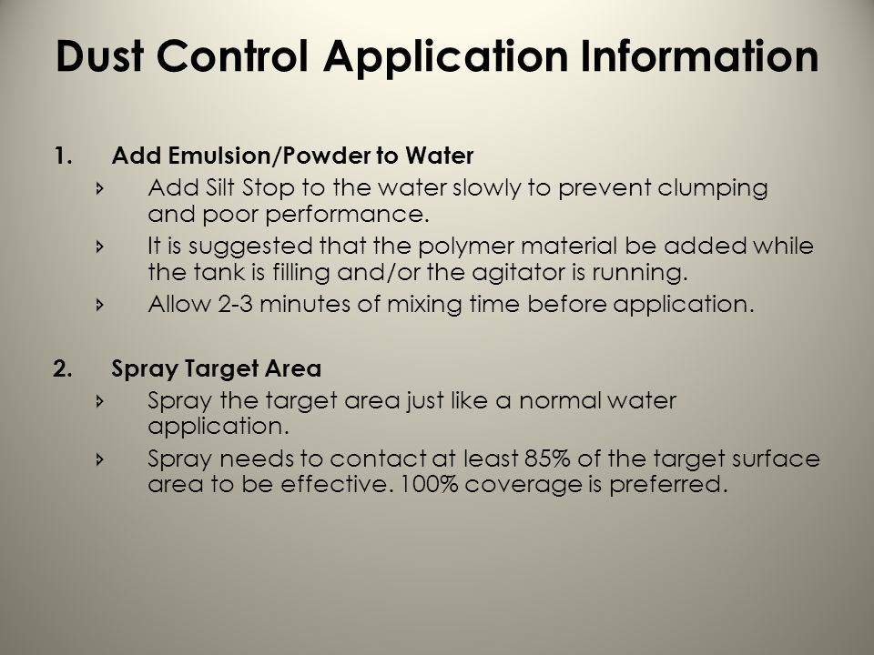 Dust Control Application Information