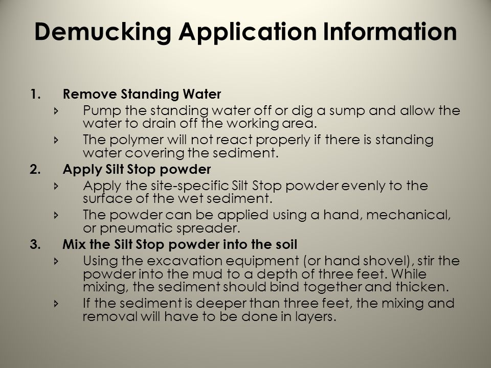 Demucking Application Information