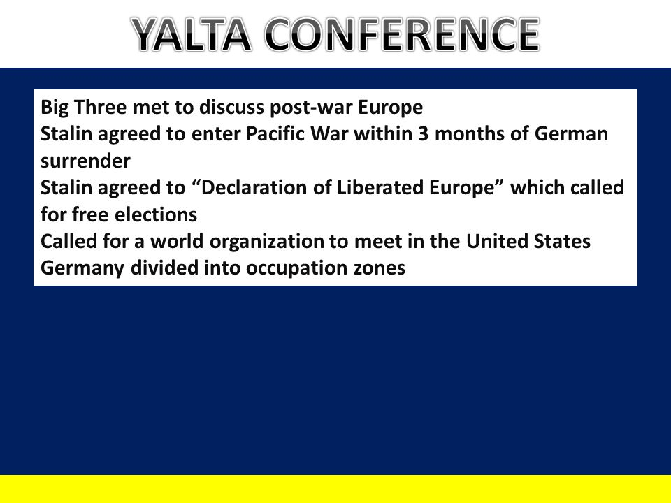 YALTA CONFERENCE Big Three met to discuss post-war Europe