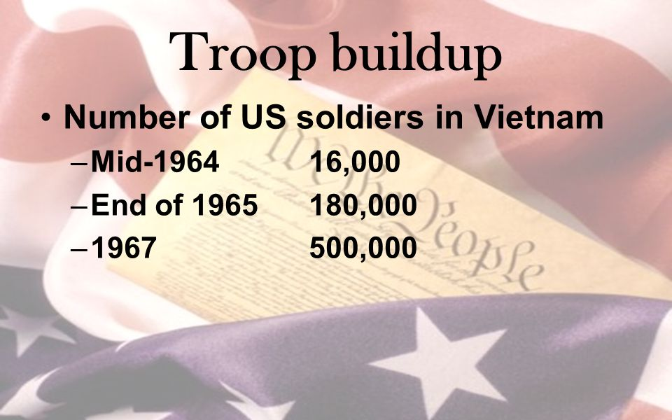 Troop buildup Number of US soldiers in Vietnam Mid-1964 16,000