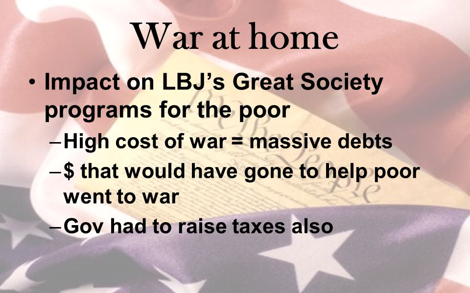 War at home Impact on LBJ's Great Society programs for the poor