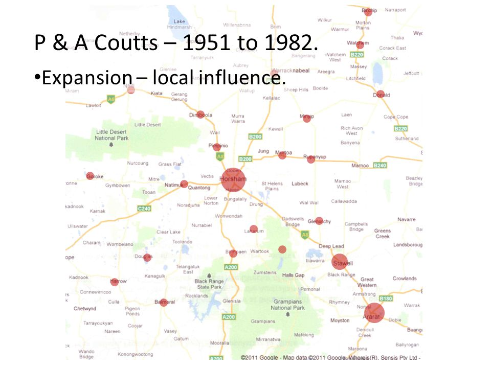 P & A Coutts – 1951 to 1982. Expansion – local influence.