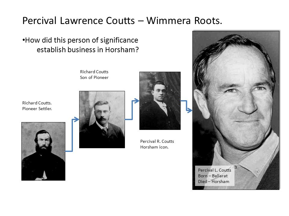 Percival Lawrence Coutts – Wimmera Roots.
