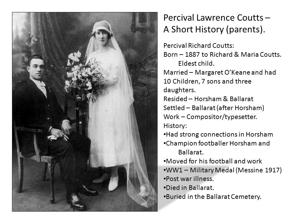 Percival Lawrence Coutts – A Short History (parents).
