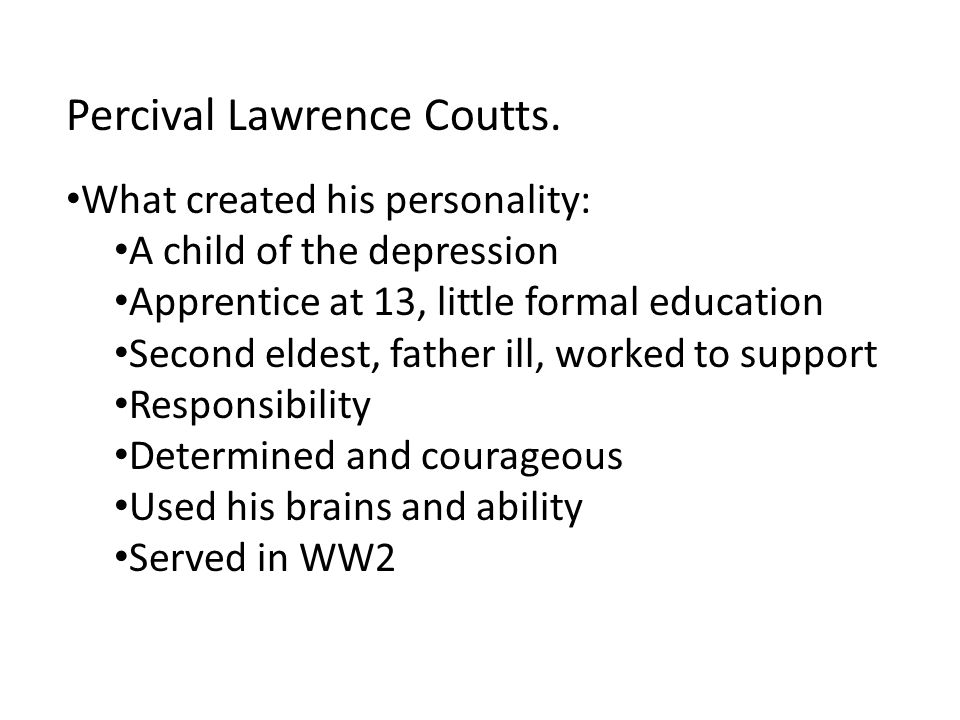 Percival Lawrence Coutts.