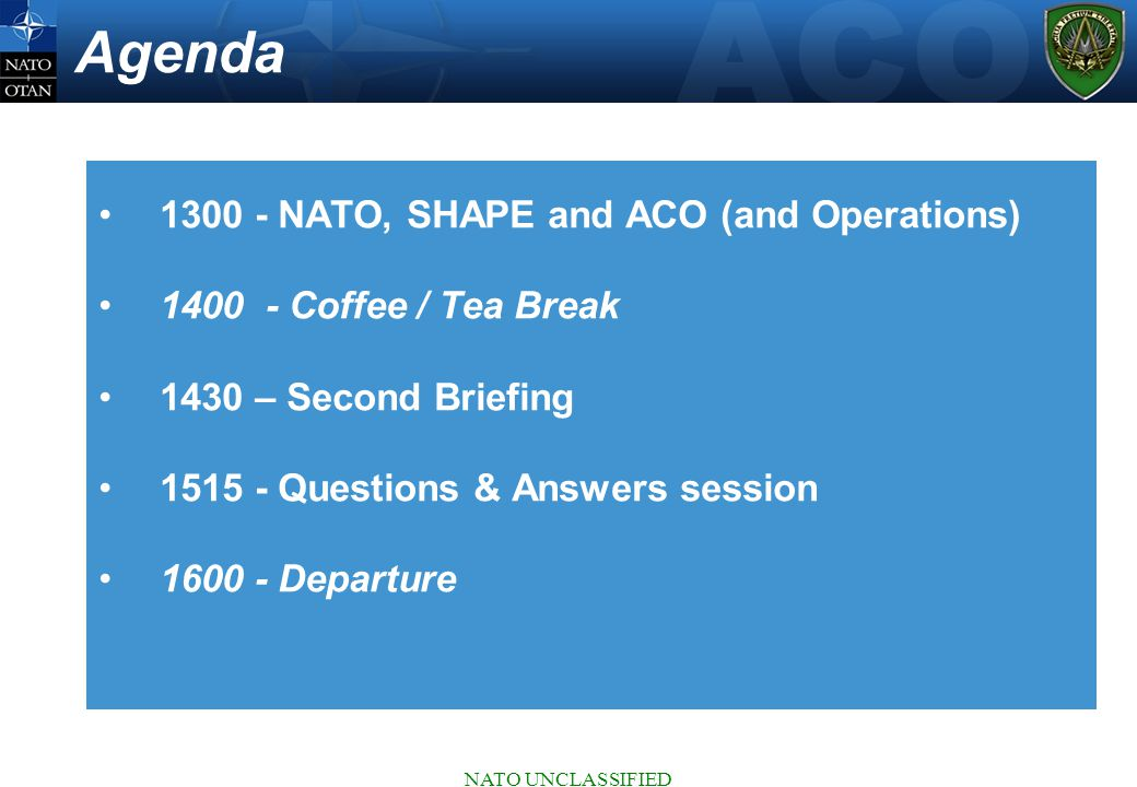 Agenda 1300 - NATO, SHAPE and ACO (and Operations)
