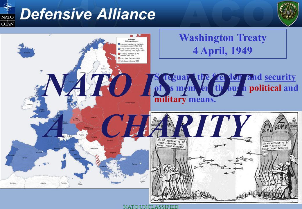 NATO IS NOT A CHARITY Defensive Alliance Washington Treaty