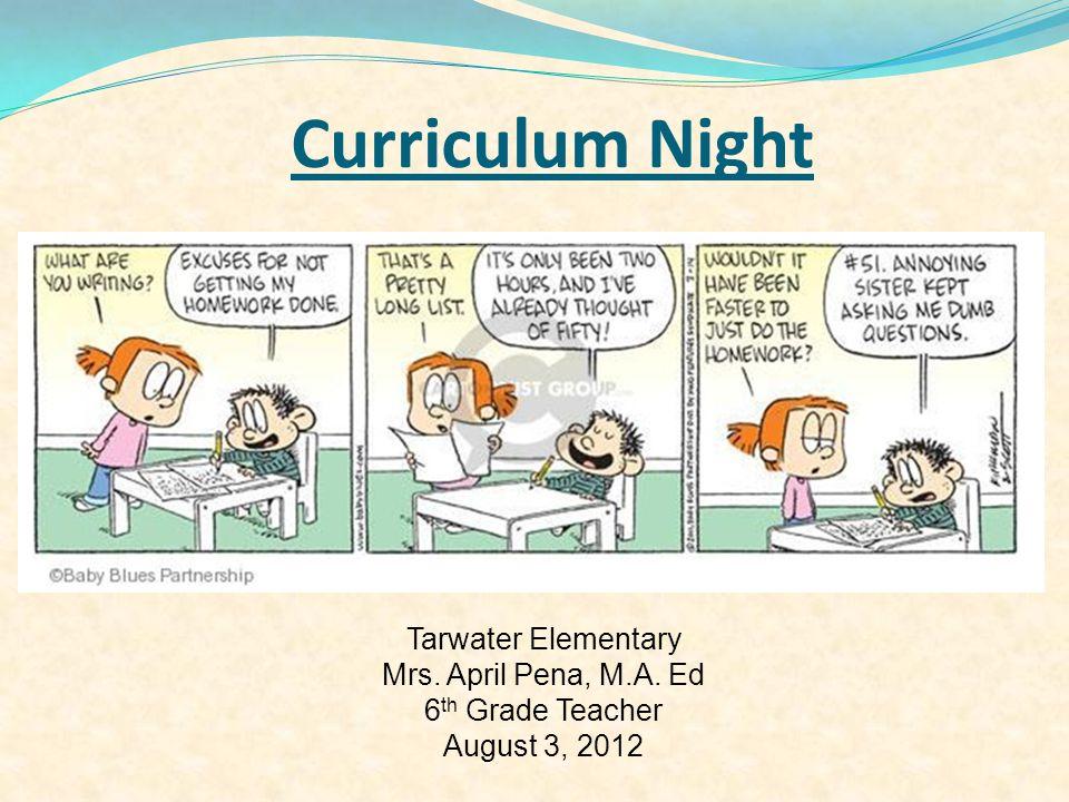 Curriculum Night Tarwater Elementary Mrs. April Pena, M.A. Ed