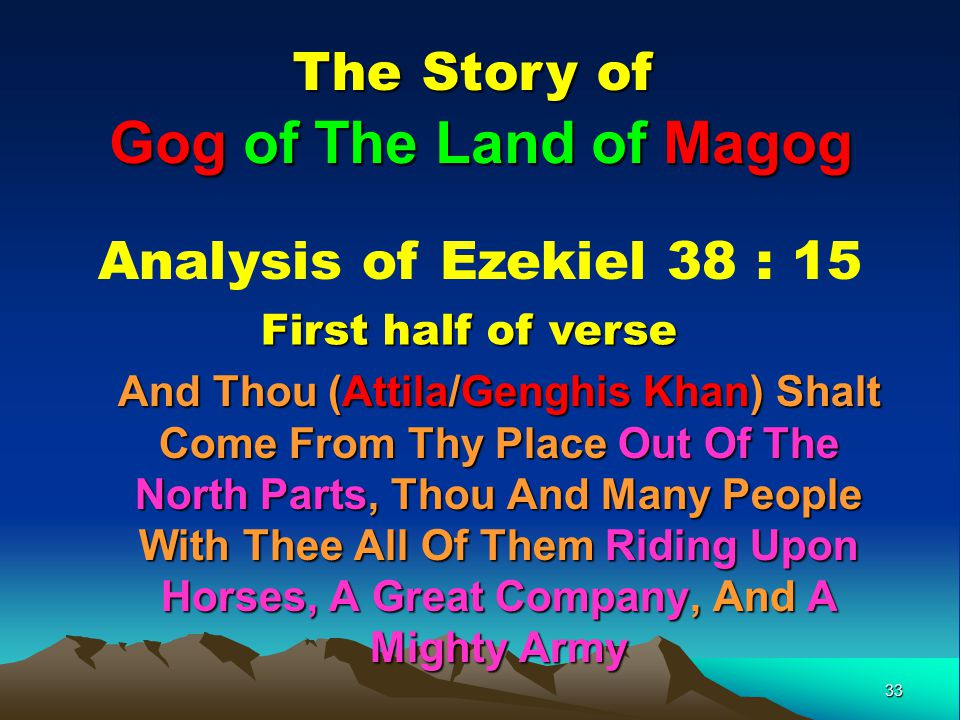 Gog of The Land of Magog The Story of Analysis of Ezekiel 38 : 15
