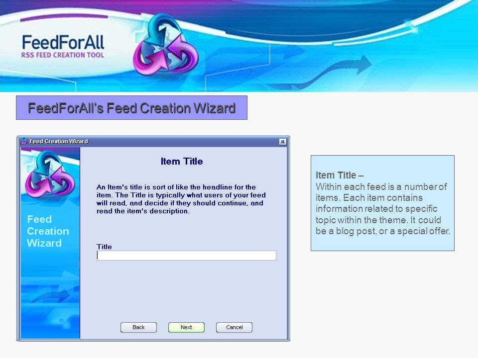 FeedForAll's Feed Creation Wizard