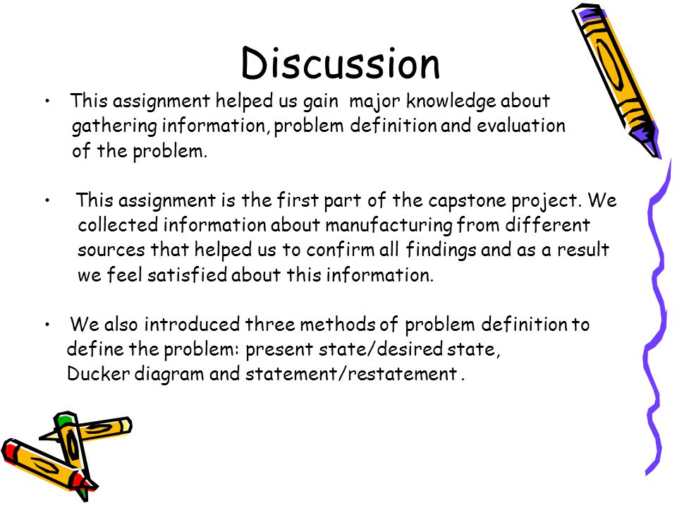 Discussion This assignment helped us gain major knowledge about