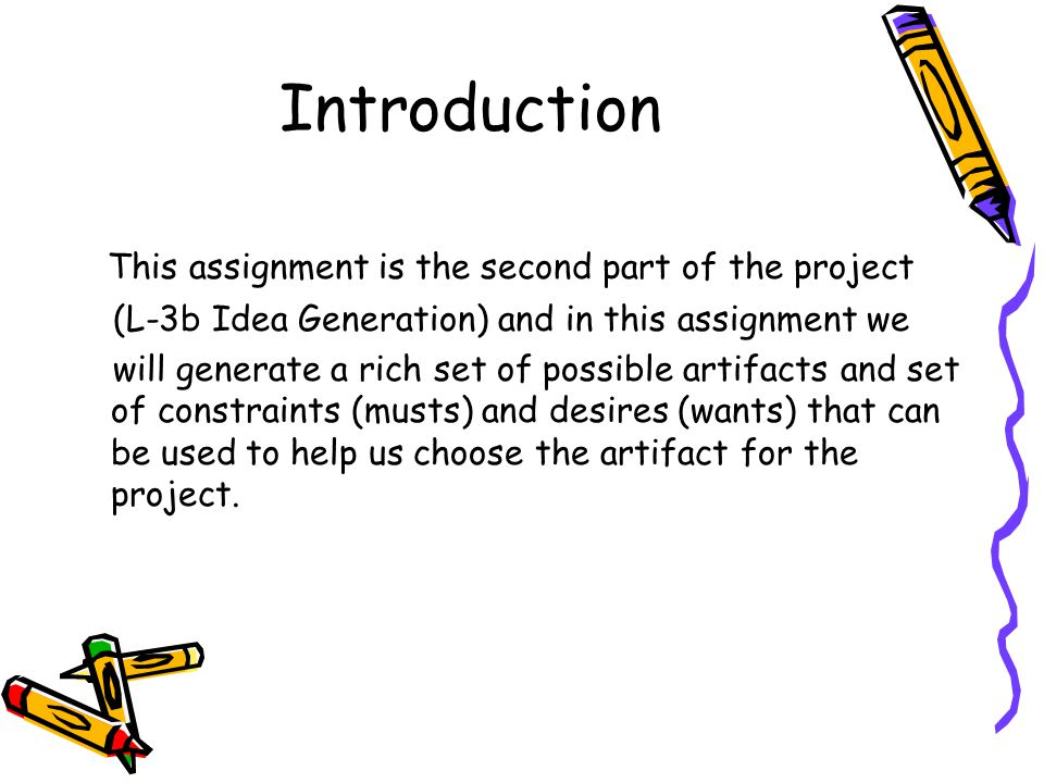 Introduction This assignment is the second part of the project