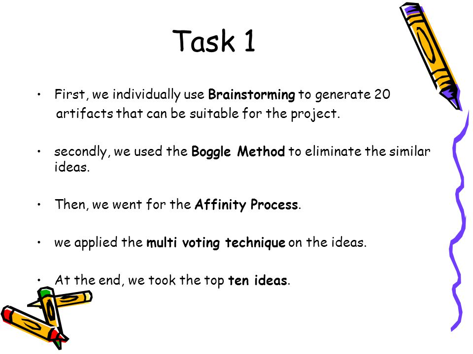 Task 1 First, we individually use Brainstorming to generate 20