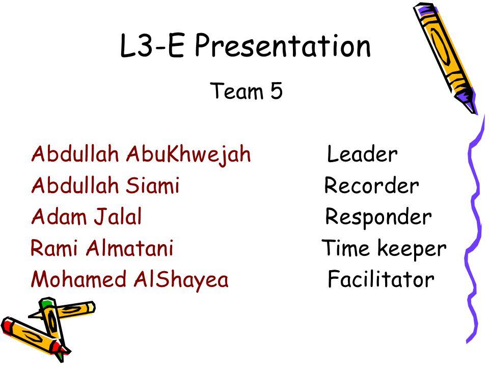 L3-E Presentation Team 5 Abdullah AbuKhwejah Leader