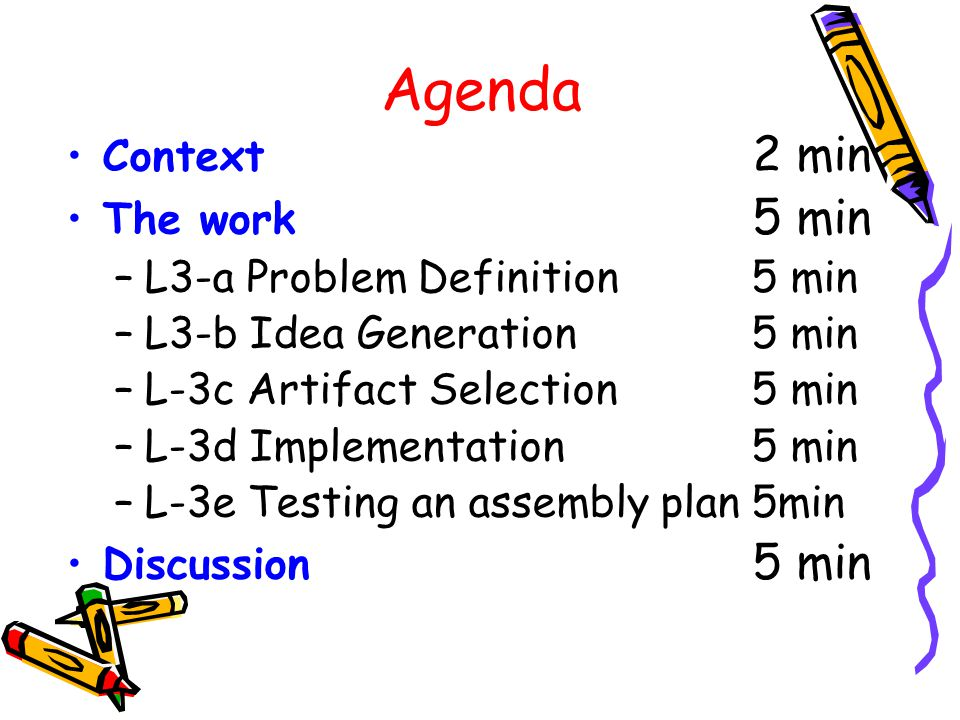 Agenda Context 2 min The work 5 min L3-a Problem Definition 5 min
