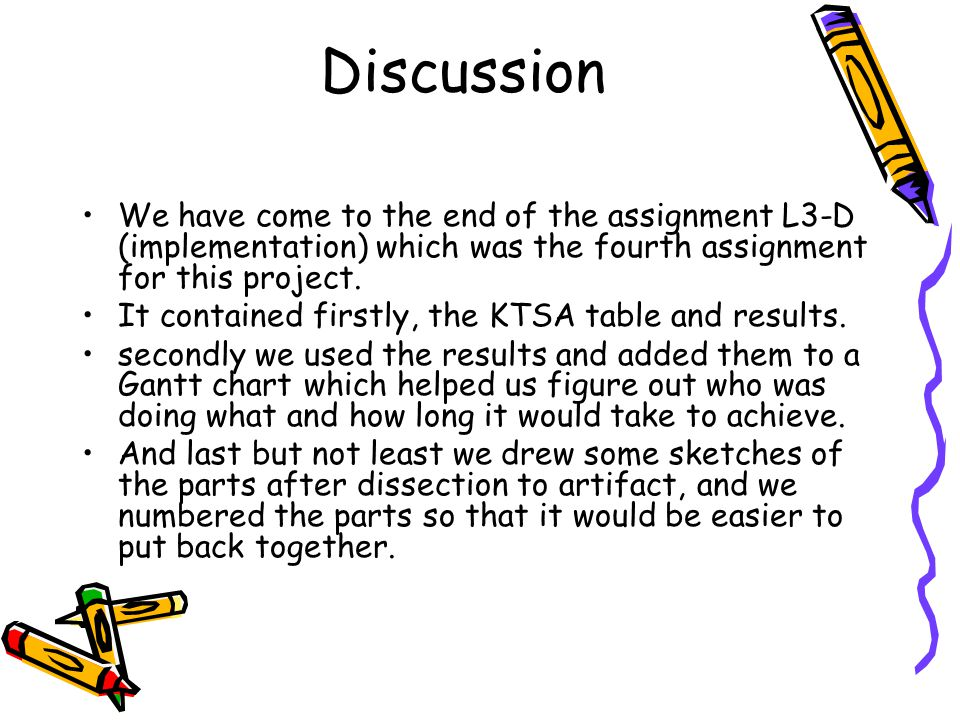 Discussion We have come to the end of the assignment L3-D (implementation) which was the fourth assignment for this project.