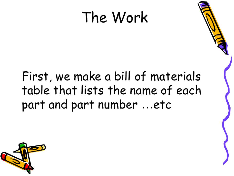 The Work First, we make a bill of materials table that lists the name of each part and part number …etc.