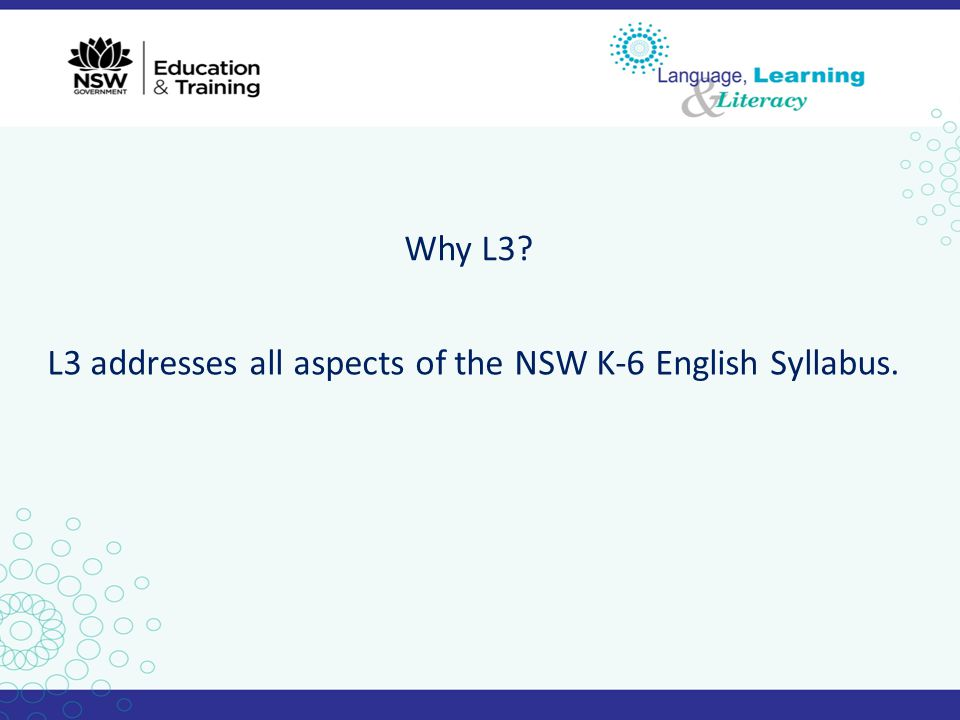Why L3 L3 addresses all aspects of the NSW K-6 English Syllabus.