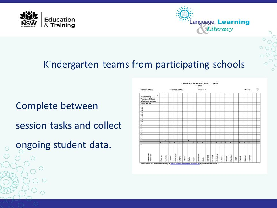 Kindergarten teams from participating schools
