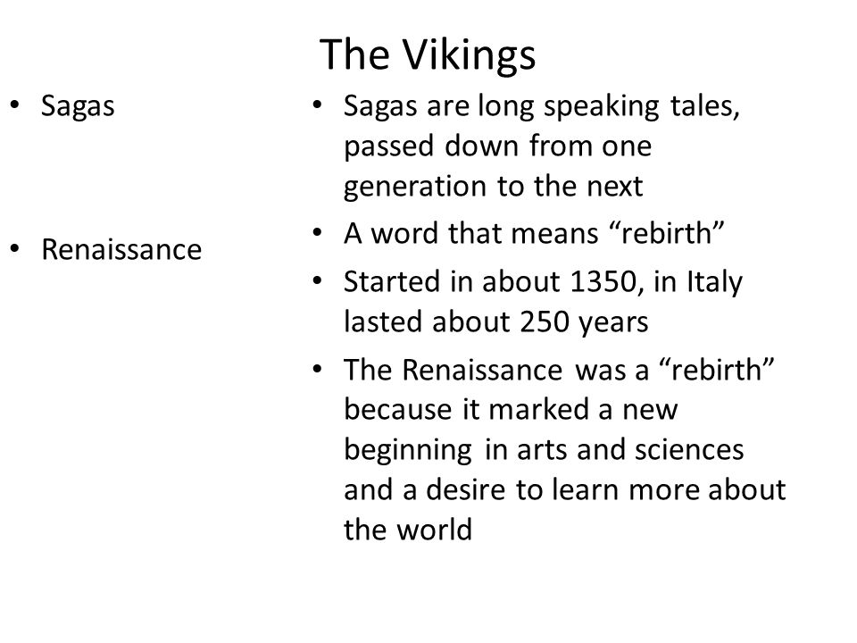The Vikings Sagas Renaissance
