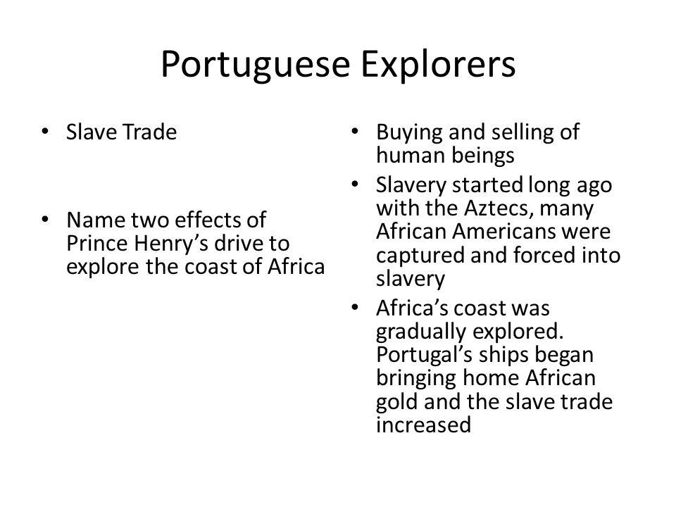 Portuguese Explorers Slave Trade
