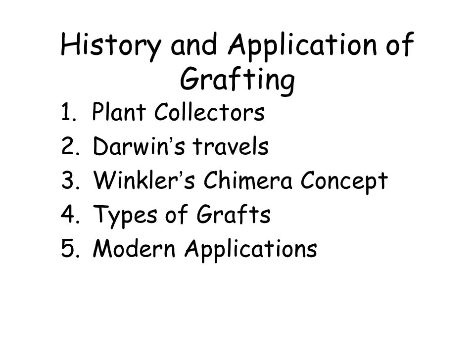 History and Application of Grafting