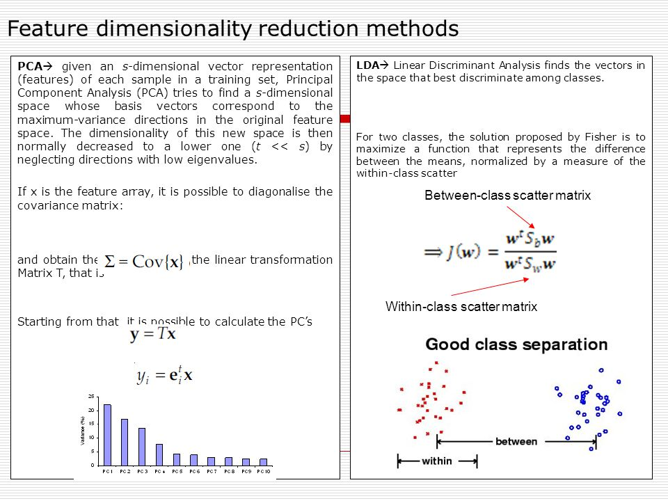 Feature dimensionality reduction methods