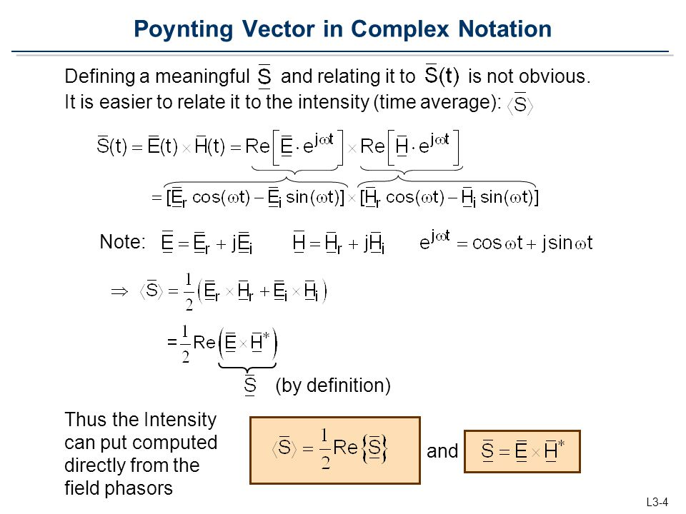 Poynting Vector in Complex Notation