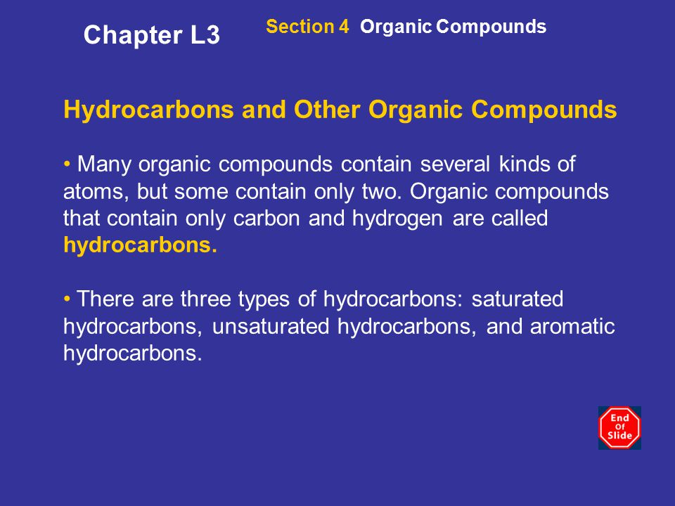 Chapter L3 Hydrocarbons and Other Organic Compounds