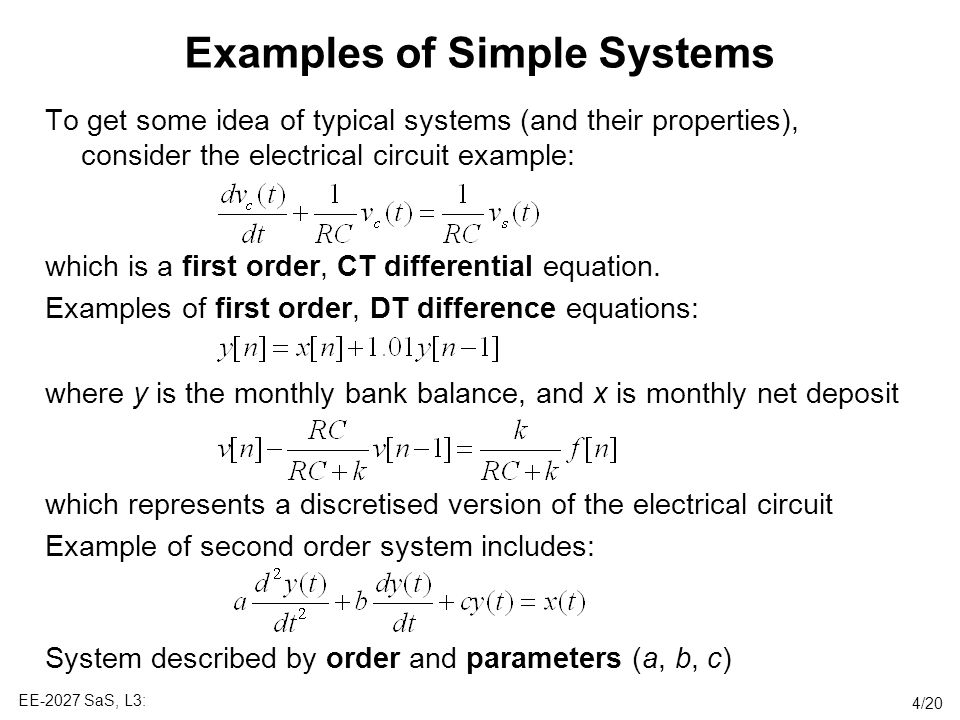 Examples of Simple Systems