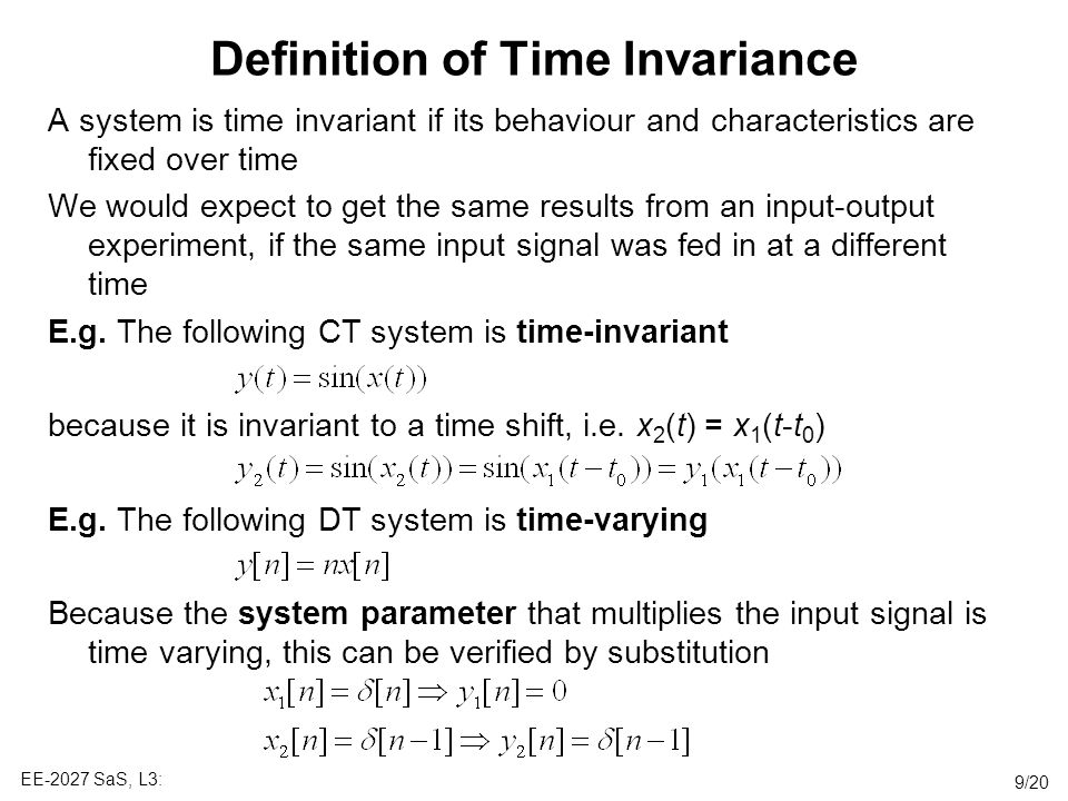 Definition of Time Invariance