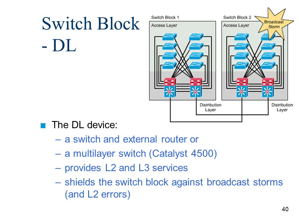 Switch Block - DL The DL device: a switch and external router or