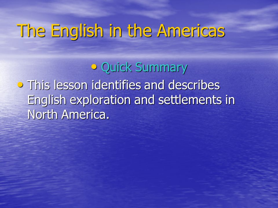 The English in the Americas