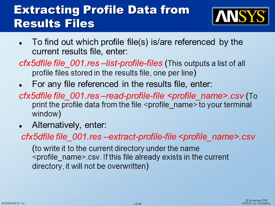 Extracting Profile Data from Results Files