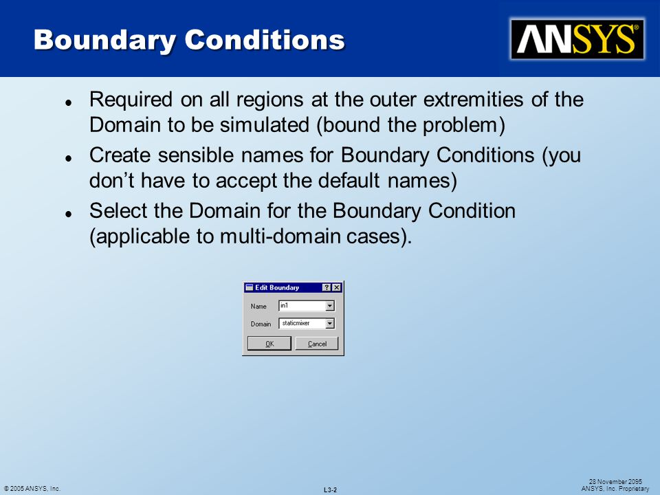 Boundary Conditions Required on all regions at the outer extremities of the Domain to be simulated (bound the problem)