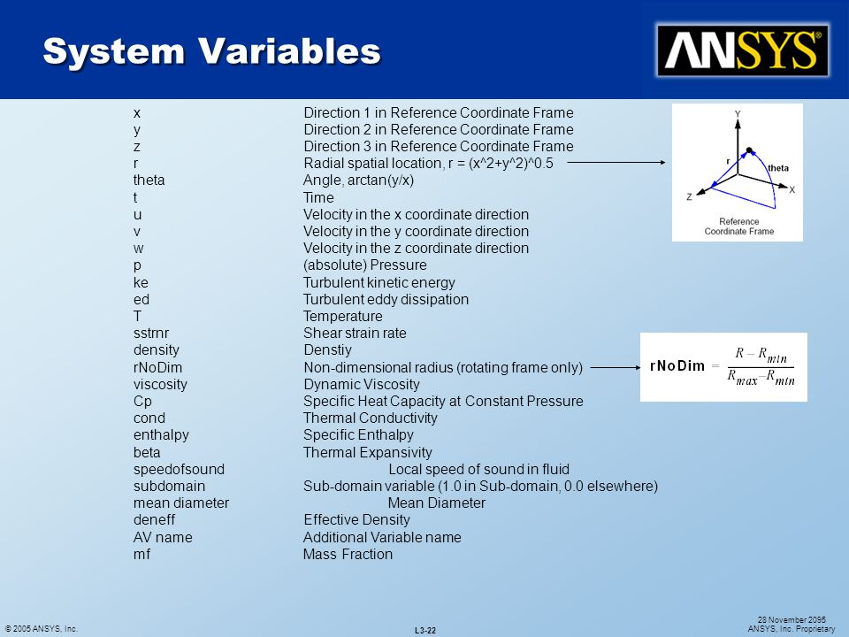 System Variables x Direction 1 in Reference Coordinate Frame