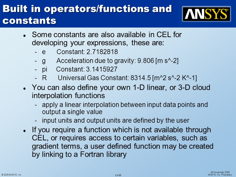 Built in operators/functions and constants