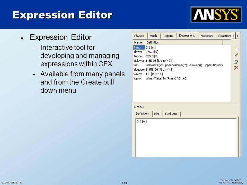 Expression Editor Expression Editor