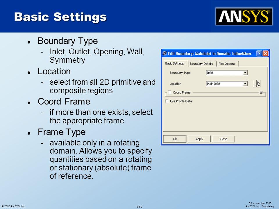 Basic Settings Boundary Type Location Coord Frame Frame Type