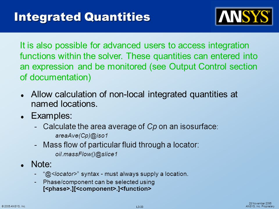 Integrated Quantities