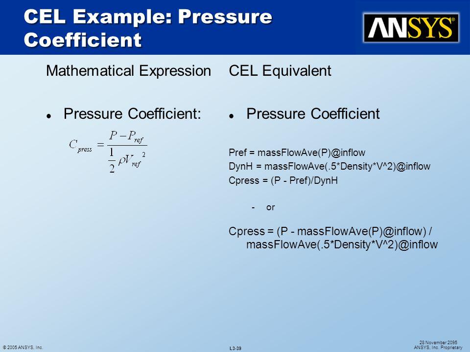 CEL Example: Pressure Coefficient