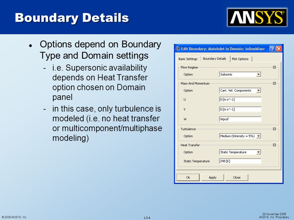 Boundary Details Options depend on Boundary Type and Domain settings