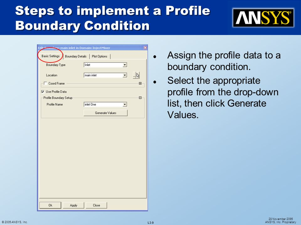 Steps to implement a Profile Boundary Condition