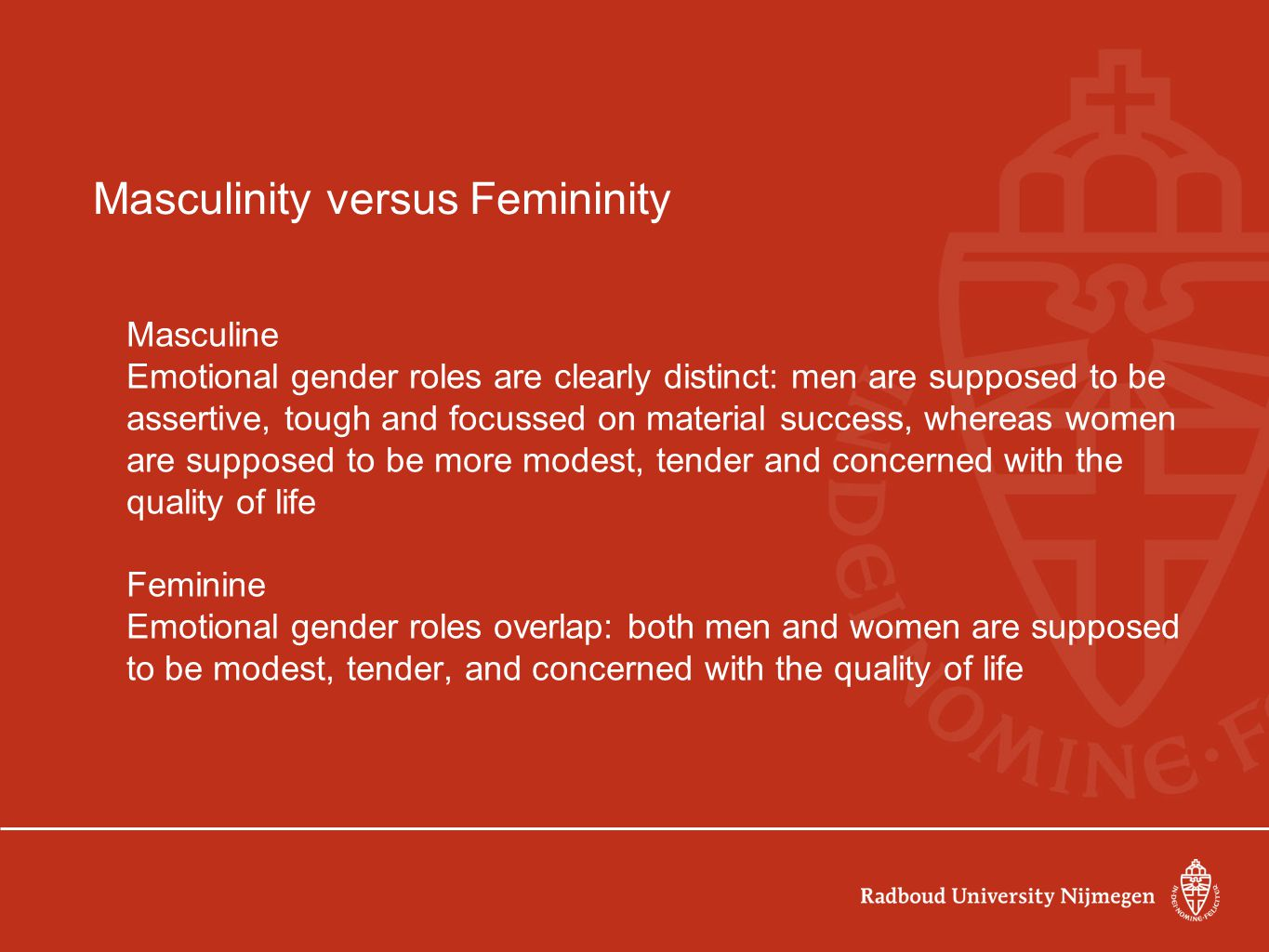 "gender roles masculinity vs femininity Masculinity and femininity v ""masculine"" and ""feminine"" has hostility toward men and male gender roles b."