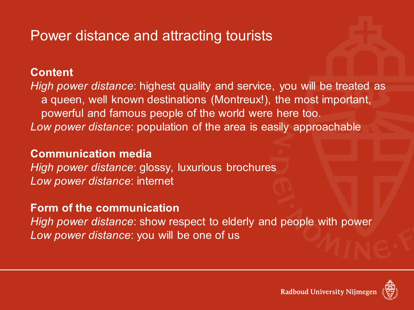 Power distance and attracting tourists
