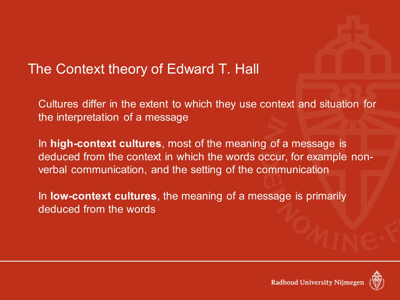 The Context theory of Edward T. Hall